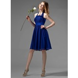 Empire Halter Knee-Length Chiffon Bridesmaid Dress With Ruffle Bow(s) (007000869)