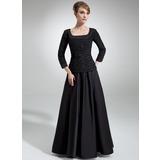 A-Linie/Princess-Linie Rechteckiger Ausschnitt Bodenlang Chiffon Satin Kleid für die Brautmutter mit Rüschen Perlen verziert Pailletten (008006314)