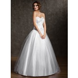 Duchesse-Linie Herzausschnitt Bodenlang Tüll Quinceañera Kleid (Kleid für die Geburtstagsfeier) mit Perlen verziert (021004578)