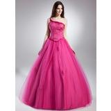 Duchesse-Linie One-Shoulder-Träger Bodenlang Tüll Quinceañera Kleid (Kleid für die Geburtstagsfeier) mit Perlen verziert Applikationen Spitze (021015630)