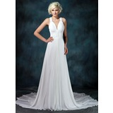 A-Line/Princess V-neck Chapel Train Chiffon Wedding Dress With Ruffle Beading Appliques Lace (002001675)