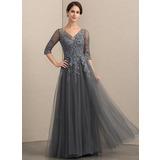 A-Linie V-Ausschnitt Bodenlang Tüll Spitze Kleid für die Brautmutter mit Perlstickerei Pailletten (008152148)
