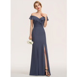 Sheath/Column Off-the-Shoulder Floor-Length Chiffon Bridesmaid Dress With Split Front Cascading Ruffles (007190680)