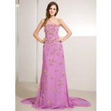 A-Line/Princess Strapless Watteau Train Chiffon Prom Dress With Ruffle Beading Sequins (018014230)