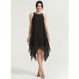 A-Line Scoop Neck Asymmetrical Chiffon Cocktail Dress With Beading (016170863)