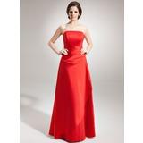 A-Line/Princess Strapless Floor-Length Satin Bridesmaid Dress With Ruffle (007001082)