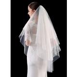 Four-tier Cut Edge/Lace Applique Edge Fingertip Bridal Veils With Lace (006201029)