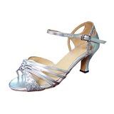 Vrouwen Sprankelende Glitter Patent Leather Hakken Sandalen Latijn Ballroom Bruiloft Partij Dansschoenen (053013230)