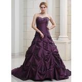 Balklänning Hjärtformad Chapel släp Taft Bröllopsklänning med Rufsar Pärlbrodering (002000503)