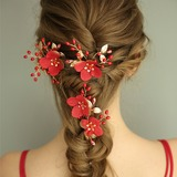 Ladies Gorgeous Imitation Pearls/Silk Flower Hairpins With Venetian Pearl (Set of 3) (042192973)