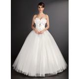 Duchesse-Linie Herzausschnitt Bodenlang Tüll Brautkleid mit Spitze Perlen verziert Pailletten (002015490)