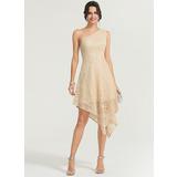 A-Line/Princess One-Shoulder Asymmetrical Lace Cocktail Dress (016170873)