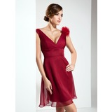 A-Line/Princess V-neck Short/Mini Chiffon Bridesmaid Dress With Flower(s) (007004209)