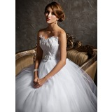 Ball-Gown Sweetheart Court Train Tulle Wedding Dress With Beading Feather Flower(s) (002004769)