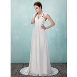 Väldet Grimma Court släp Chiffong Bröllopsklänning med Rufsar Pärlbrodering (002011555)