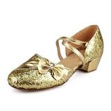 Vrouwen Kinderen Sprankelende Glitter Sandalen Moderne Ballroom met Strik Dansschoenen (053013159)