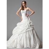 Ball-Gown Sweetheart Chapel Train Taffeta Wedding Dress With Ruffle Lace Flower(s) (002000461)