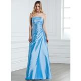 Sheath/Column Strapless Floor-Length Taffeta Bridesmaid Dress With Ruffle Beading (007001076)