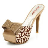 Femmes Tissu Talon stiletto Sandales Plateforme À bout ouvert Chaussons avec Strass Bowknot chaussures (087025797)