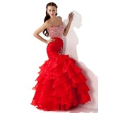 Trumpet/Mermaid Sweetheart Floor-Length Organza Prom Dresses With Beading Sequins Cascading Ruffles (018005174)