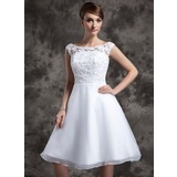 A-Line/Princess Scoop Neck Knee-Length Organza Lace Wedding Dress (002015023)