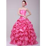 Duchesse-Linie Herzausschnitt Bodenlang Taft Quinceañera Kleid (Kleid für die Geburtstagsfeier) mit Rüschen Blumen (021016170)