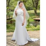 Forme Fourreau Dos nu Traîne watteau Détachable Satiné Robe de mariée avec Plissé Emperler Sequins (002001180)