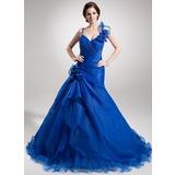 A-Linie/Princess-Linie Herzausschnitt Hof-schleppe Organza Quinceañera Kleid (Kleid für die Geburtstagsfeier) mit Perlen verziert Blumen Gestufte Rüschen (021016383)