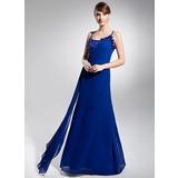 A-Line/Princess Scoop Neck Floor-Length Chiffon Holiday Dress With Ruffle Beading (018014694)