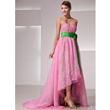 Empire Sweetheart Asymmetrical Organza Holiday Dress With Ruffle Flower(s) (020014419)