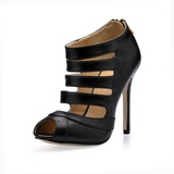 Leatherette Stiletto Heel Peep Toe Enkel Laarzen met Hollow-out (085016997)