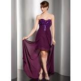 Etui-Linie Herzausschnitt Bodenlang Chiffon Abendkleid mit Rüschen Perlen verziert (017014542)