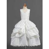 Duchesse-Linie Wadenlang Blumenmädchenkleid - Taft Ärmellos V-Ausschnitt mit Rüschen/Lace/Suchen Up Skirt (010015807)