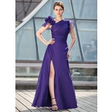 A-Line/Princess Floor-Length Chiffon Mother of the Bride Dress With Ruffle Beading Flower(s) Split Front (008018695)