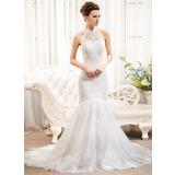 Trumpet/Mermaid High Neck Court Train Tulle Lace Wedding Dress (002054373)