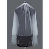 Zweischichtig Fingerspitze Braut Schleier mit Perlenbesetzter Saum (006034297)