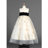 Empire Ankle-length Flower Girl Dress - Organza/Charmeuse Sleeveless Scoop Neck With Sash/Flower(s) (010014654)