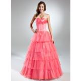Duchesse-Linie Herzausschnitt Bodenlang Organza Quinceañera Kleid (Kleid für die Geburtstagsfeier) mit Perlen verziert Gestufte Rüschen (021015579)