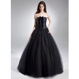 Duchesse-Linie Trägerlos Bodenlang Tüll Quinceañera Kleid (Kleid für die Geburtstagsfeier) mit Rüschen (021015612)