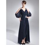 A-Linie/Princess-Linie V-Ausschnitt Asymmetrisch Chiffon Kleid für die Brautmutter mit Perlen verziert Gestufte Rüschen (008005761)
