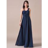 Empire-Linie Eine Schulter Bodenlang Chiffon Brautjungfernkleid mit Rüschen (007057720)