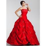 Duchesse-Linie Trägerlos Bodenlang Taft Quinceañera Kleid (Kleid für die Geburtstagsfeier) mit Bestickt Rüschen Perlen verziert (021020887)
