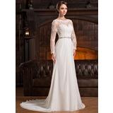 A-Linje Illusion Court släp Chiffong Spets Bröllopsklänning med Rufsar Beading Paljetter (002056220)