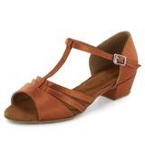 Kinder Satin Sandalen Flache Schuhe Latin mit T-Riemen Tanzschuhe (053022360)