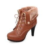 Femmes Similicuir Talon stiletto Plateforme Bottines avec Boucle chaussures (088033804)