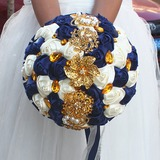 Round Satin/Imitation Pearl Bridal Bouquets (Sold in a single piece) - (123182161)
