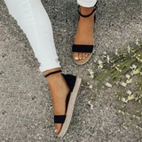 Vrouwen Fluwelen Flat Heel met Gesp schoenen (087211428)