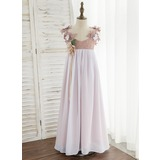 A-Line Ankle-length Flower Girl Dress - Chiffon/Lace Sleeveless V-neck With Flower(s) (010172348)