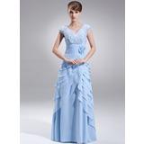 A-Linie/Princess-Linie V-Ausschnitt Bodenlang Chiffon Kleid für die Brautmutter mit Perlstickerei Blumen Pailletten Gestufte Rüschen (008006404)