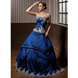 Duchesse-Linie Trägerlos Bodenlang Taft Quinceañera Kleid (Kleid für die Geburtstagsfeier) mit Bestickt Rüschen Perlstickerei (021003128)